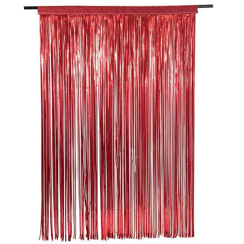 Metallic Red Fringe Curtain