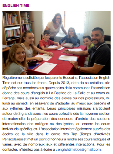 English Time Kids article de presse