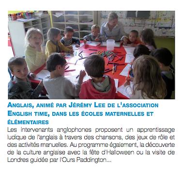 Article de presse English Time Kids