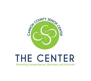 Here is the Cannon County Senior Center logo. It is green and white with a circular design above.