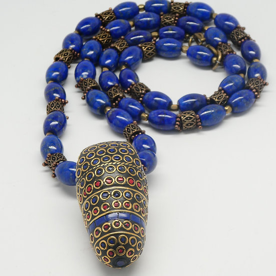 TD352 Lapis necklace with an inlaid Tibetan drop pendant