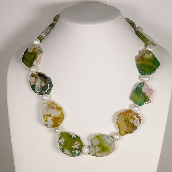 CD296 Agate and Pearl Necklace