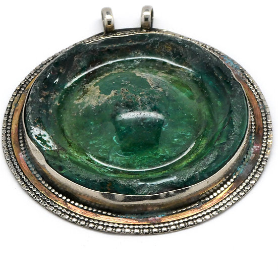Round Bezel-Set Roman Glass Pendant
