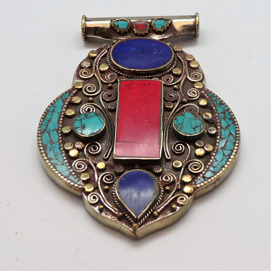 PD379  Silver & Brass Pendant w/ Lapis, Turquoise, Coral