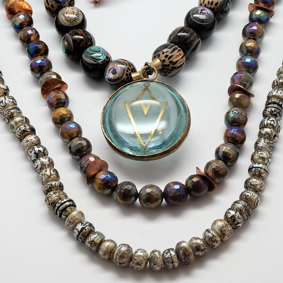 AF348 3-strands w/glass pendant, pearls, palm, abalone. AB tiger eye