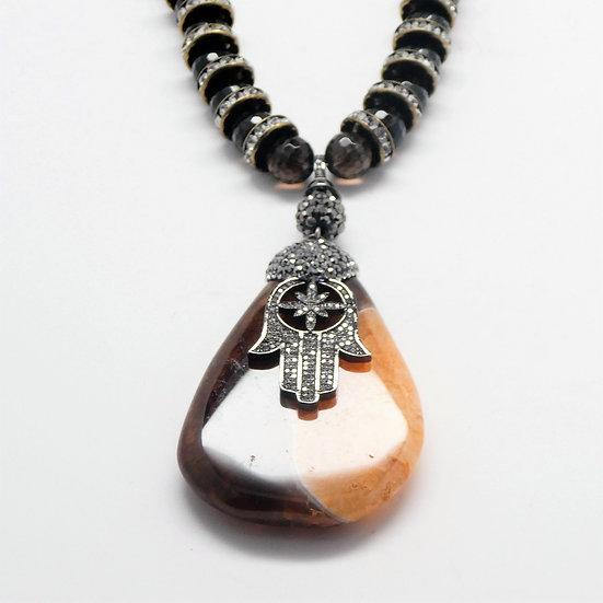 AF349 Agate drop Hamsa pendant on smokey quartz and crystal necklace