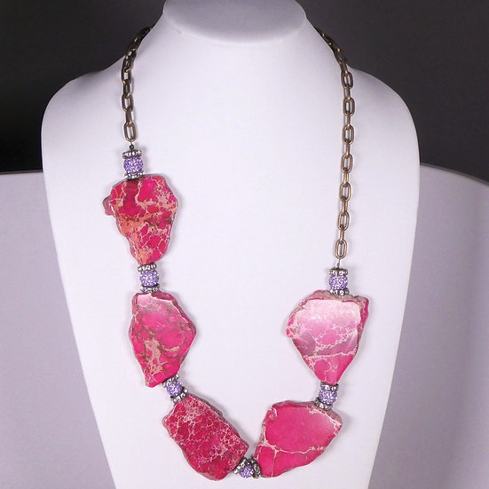 CD291 Chunky, Pink Agate and Rhinestone Necklace