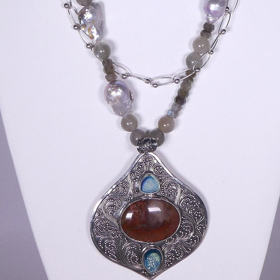 CD294 Sumptuous Bali .925 Pendant on Baroque Pearl & Gemstone Necklace