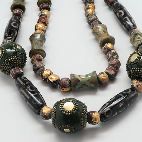 AF350 Multistrand necklace w/ Tibetan agates, Buddha beads & lacquered  balls