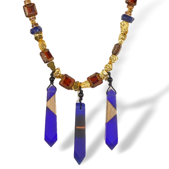 Beaded Czech Glass Pendant Necklace