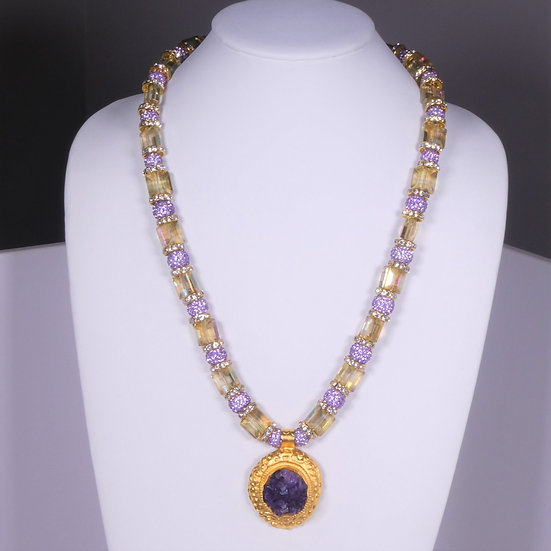 CD290 Chinese Crystal Necklace w/ Amethyst Druzy Pendant