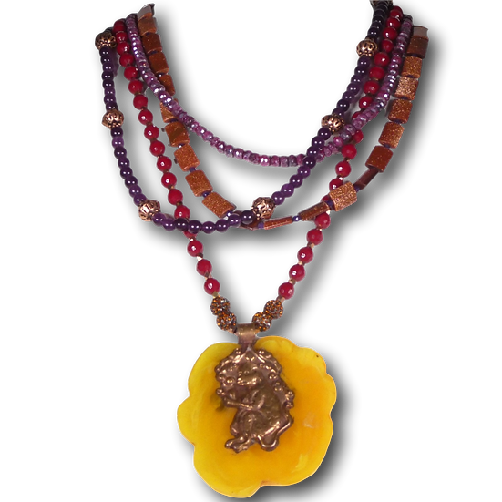 TD356 Multi-strand gemstone beaded necklace with carved pendant