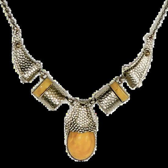 Vintage Bauhaus Aluminum and Amber Necklace #VN169)