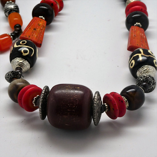 "TD232 44"" Beaded tribal necklace from Tibet"