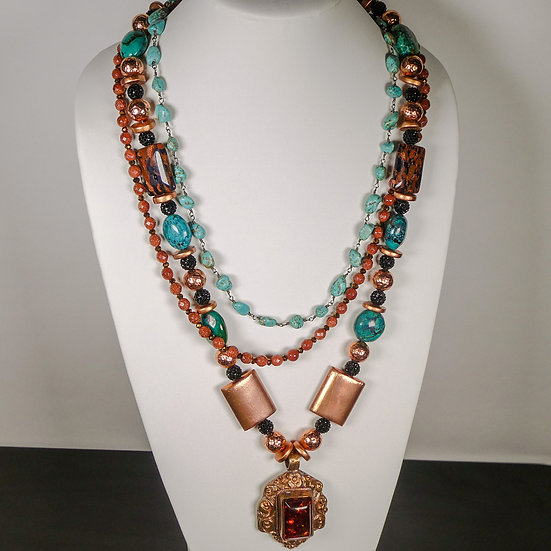 MD354 Multi-strand gemstone necklace with amber pendant