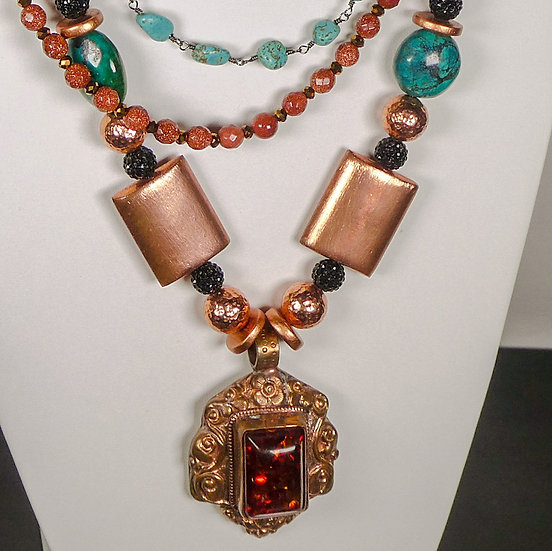 Faceted Tree Sap & Copper Pendant on a 3-strand Goldstone, Turquoise Necklace