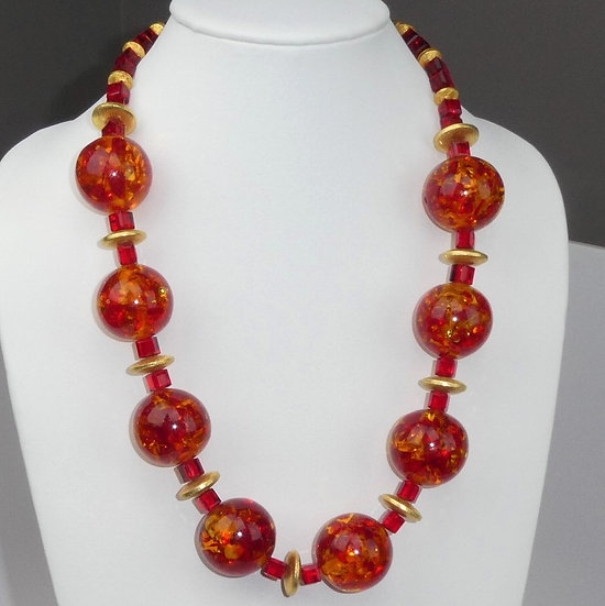 Tree Sap, Gold and Chinese Red Crystal Necklace