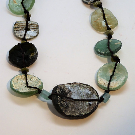 Graduated Ancient Roman Glass Necklace on Sage Cord