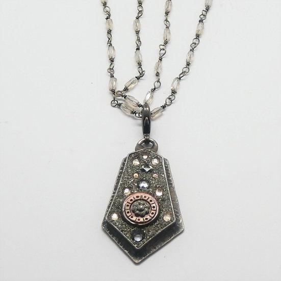 CD282  Steampunk gemstone pendant by Three Birds Studio on a brilliant  CZ chain