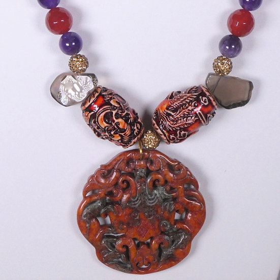 TD353 Carved Bone Necklace w/ Gemstones & Carved Jade Pendant