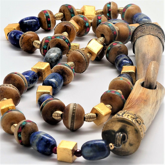TD233 Tribal necklace with inlaid bone, lapis, large bone clasp and more