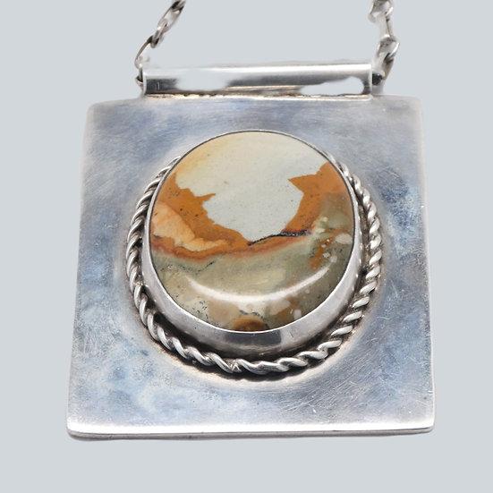 UN168 Vintage Arts & Crafts picture jasper on handmade silver  link chain