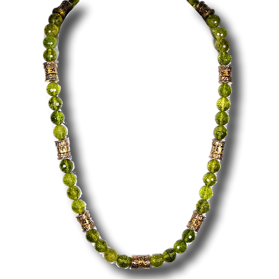 CD298 Peridot Quartz Necklace with Brass Accents