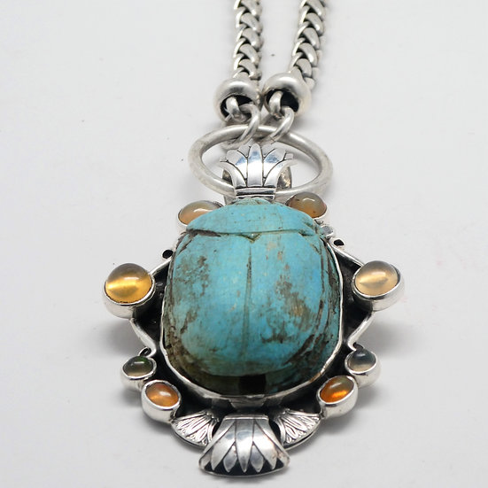 SS188 Huge scarab pendant with cabochon fire opals w/ heavy sterling chain