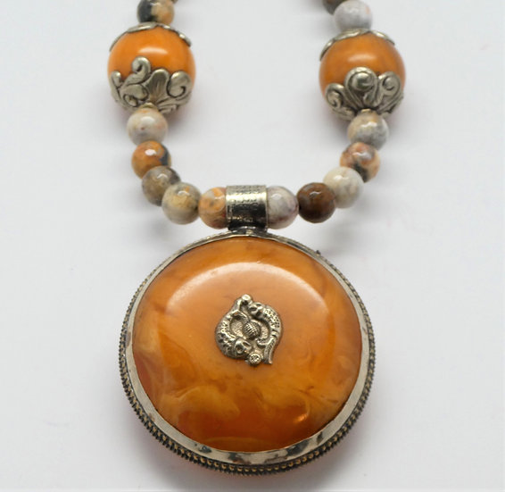 "Tibetan 2-sided Amber Pendant on ""Crazy Lace"" Agate Necklace"