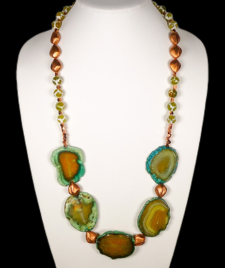 CD295 Agate and Copper Beaded Necklace