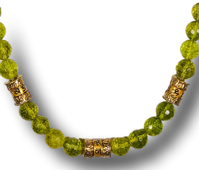 Peridot Quartz Necklace with Brass Accents