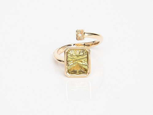 Lime Rectangular Macaron Ring