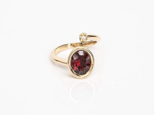 Red Oval Macaron Ring