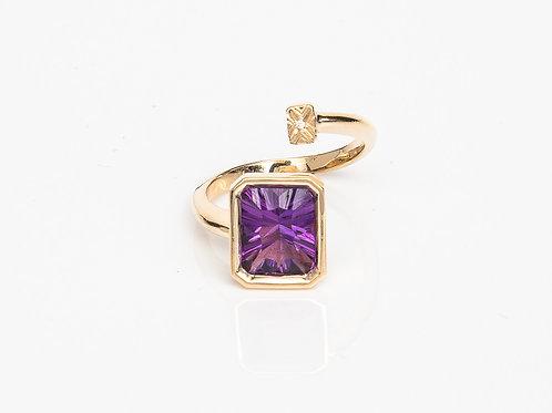 Purple Rectangular Macaron Ring