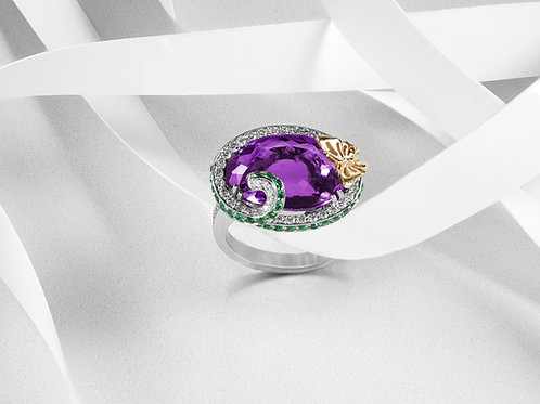 Amethyst, Emerald and Diamond Ring - RP2313