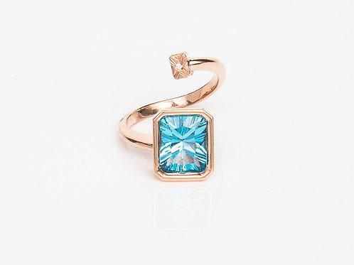 Blue Rectangular Macaron Ring