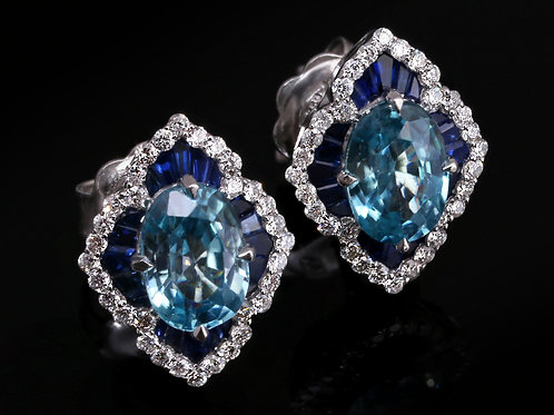 Blue Sapphire Crown Earrings