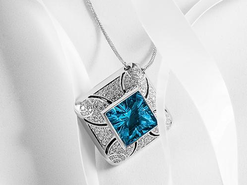 Blue Topaz Pendant with Diamonds - Z0003