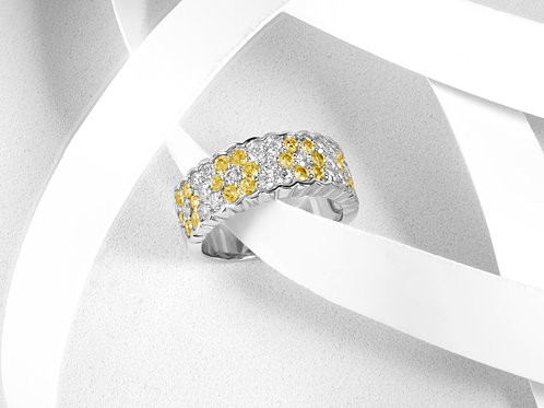 Yellow Sapphire Flower Band with Diamonds - RP2193