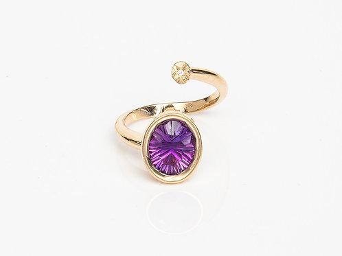Purple Oval Macaron Ring