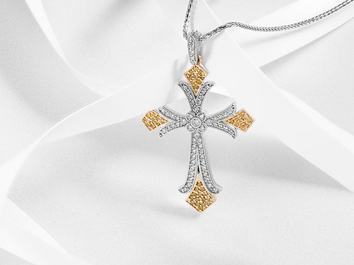 Two Tone Diamond Cross - RP1827
