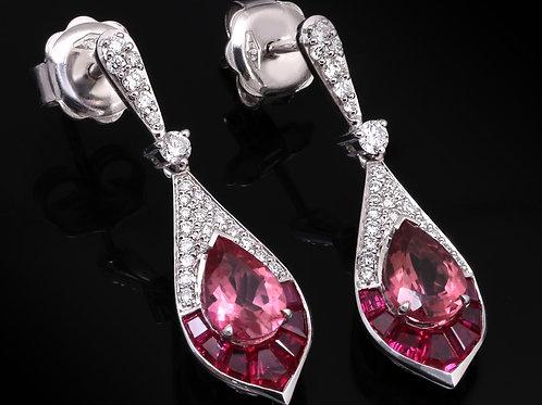Pink Ruby Teardrop Earrings