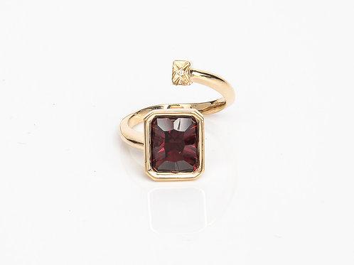 Red Rectangular Macaron Ring