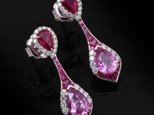 Pink Sapphire & Ruby Teardrop Earrings