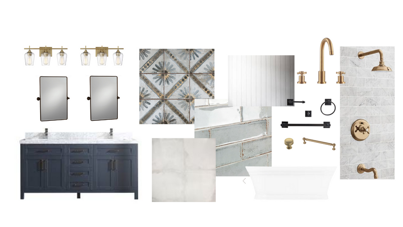Blue and Gold Bathroom Finishes and Fixtures
