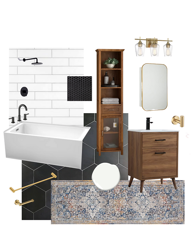 Mid Century Modern Bathroom Finishes and Fixtures
