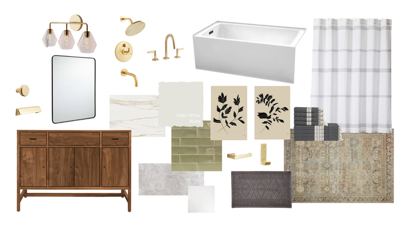 Modern Traditional Olive Bathroom Finishes and Fixtures
