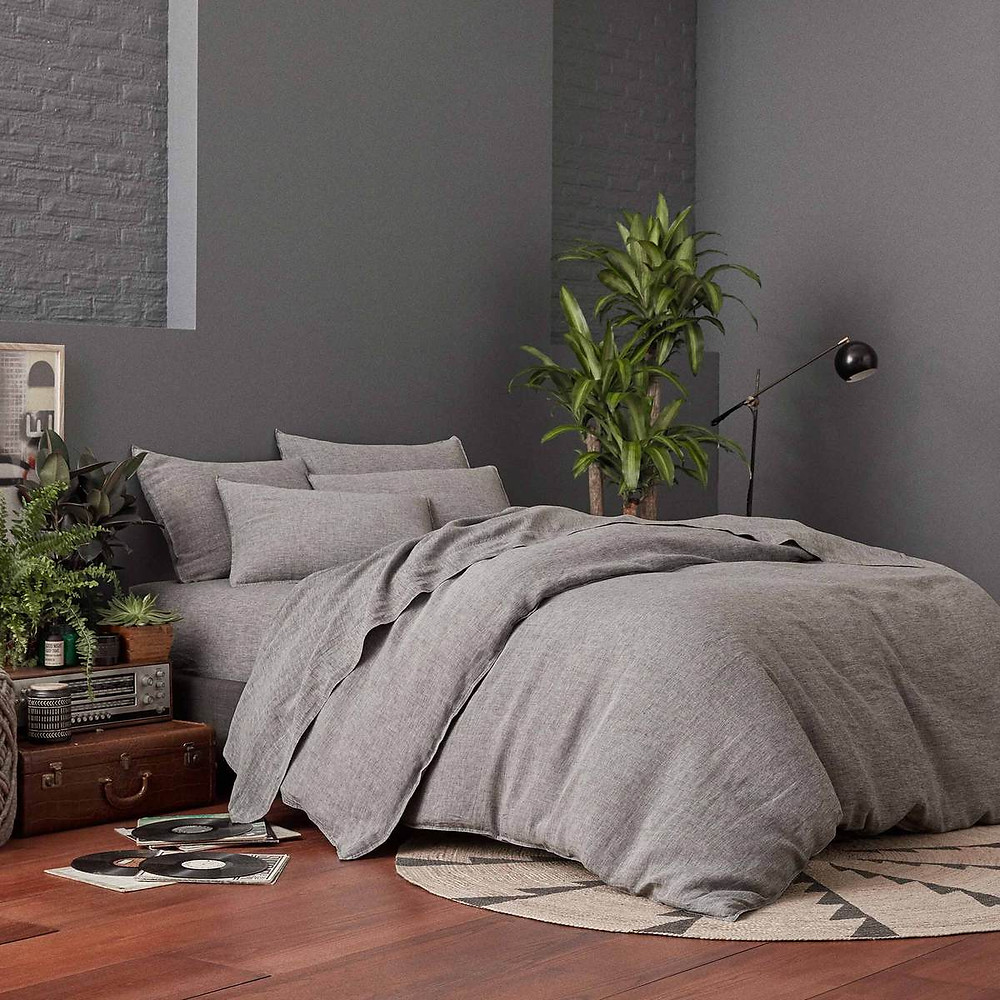 Heathered Cashmere Duvet Cover From Brooklinen in Charcoal Gray