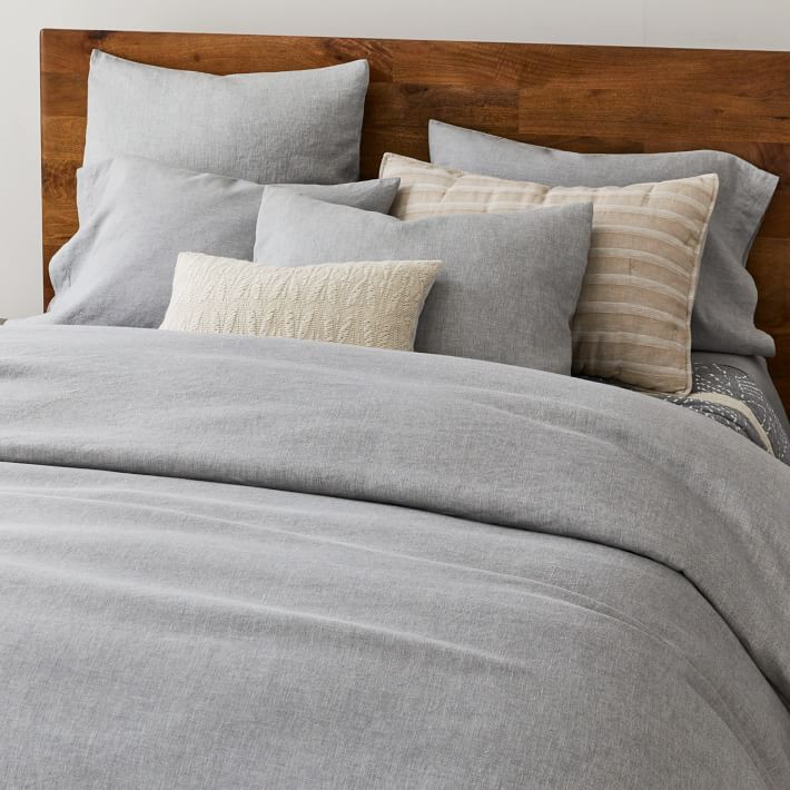 Hemp and Cotton Solid Duvet Cover from West Elm in Misty Gray