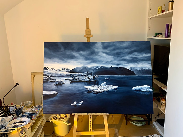 studio oil painting iceland